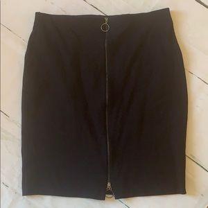 Plus size black zip front skirt